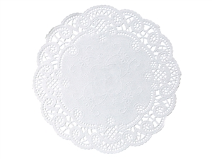 French Lace Paper White Doilies Round - 6 in.