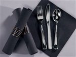 Caterwrap K-F-S Fashnpnt Black Napkin Heavyweight Plastic Metallic Wrap With Band