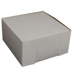 1 Piece Lock Corner White Bakery Box - 10 in. x 10 in. x 5 in.