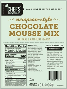 Chefs Companion Chocolate Mousse Mix - 22 Oz.