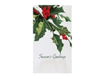 Holly Greetings Beverage Dinner Napkin - 15 in. 17 in.
