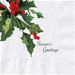 Holly Greetings Beverage Napkin 2 Ply - 10 in. x 10 in.