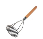 Round Potato Masher Wood Handle Chrome Plated - 5 in. x 24.5 in.