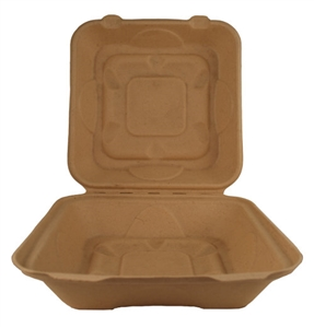 Unbleached Hinged Takeout Containers Single Compartment - 9 in. x 9 in. x 3 in.