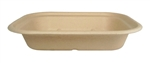 Unbleached Plant Fiber Single Compartment Trays  - 8 in. x 6 in. x 1.5 in.
