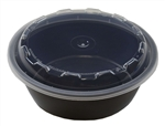 Round Reusable Container Crown Black - 18 Oz.