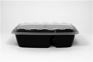 Rectangular 2 Compartment Container with Clear Lid - 28 Oz.