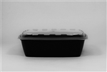 Square Reusable Plastic Food Container Black and Clear Lid - 64 Oz.