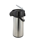 Stainless Steel Body Glass Lined Airpot with Lever Top - 2.2 Liter