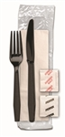 Knife-Fork Salt-and-Pepper Ebony Napkin 1 Ply Super Heavy Weight Plastic Kit