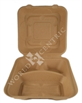Compostable Unbleached Miscanthus Fiber Clamshell - 9 in.x 9 in.x 3 in.