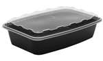 Rectangular Plastic Containers Black and Clear Vented Lid - 56 Oz.