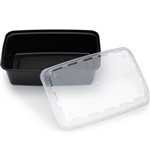 Rectangular Plastic Container Black and Clear Vented Lid - 28 Oz.
