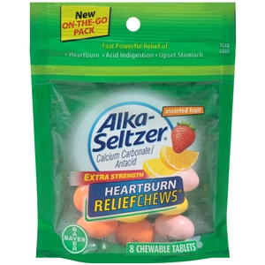 Alka-Seltzer Heartburn Relief Assorted Fruit 8 Count Pouch