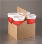 Tall 4 Cup Paper Drink Carrier Plain Kraft
