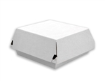 Medium Square Corrugated F-Flute Clamshell Box Plain White