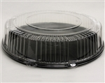 Tray 16 in. Round Pet Black Tray and Clear Lid Combo Pack