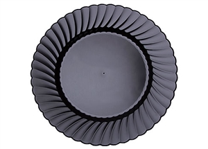 Black Fluted Rim Polystyrene Heavy Weight Plate - 10.25 in.
