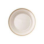 Ivory With Gold Rings Polystyrene Plate - 6 in.
