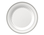 White With Silver Rings Polystyrene Plate - 6 in.