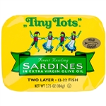 King Oscar Tiny Tots Sardines in Extra Virgin Olive Oil  2 Layer - 3.75 Oz.
