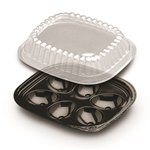 6 Egg Black Pet Tray with Dome