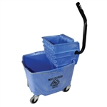Plastic Sidepress Squeeze Wringer Bucket Blue