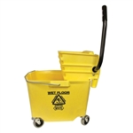 Plastic Sidepress Squeeze Wringer Bucket Yellow