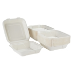 Ecosmart One Compartment Molded Fiber White Clamshell - 9 in. x 9 in.