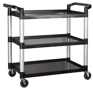 Black Plastic 3 Tiers Utility Cart - 40.75 in. x 19.5 in. x 37.38 in.