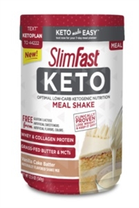 SlimFast Keto Meal Replacement Powder Vanilla Cake Batter Canister - 12.2 Oz.