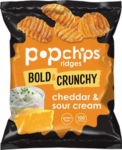 Cheddar and Sour Cream Ridges Kosher Popped Potato Chips - 0.8 Oz.