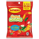 Sathers 2 For Dollar 2 Gummi Worms Candy - 4.25 oz.