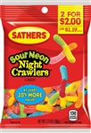 Sathers 2 For Dollar 2 Sour Neon Night Crawlers - 3.75 oz.