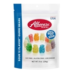 Sour 12 Flavor Gummi Bears Stand Up Resealable Gusset - 8 Oz.