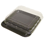 Square Serving Black Corrugated Tray with High Dome - 11.5 in.