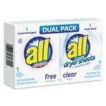 All Free Clear Laundry Detergent and Dryer Sheets Dual Pack - 1.8 Oz.