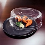 EMI Yoshi Deli Mate Black 12 in. Round Trays with Dome OPS Lids