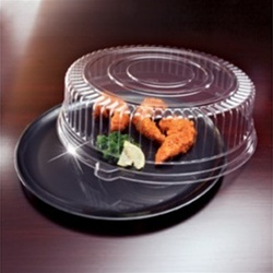 EMI Yoshi Deli Mate Round Black Tray with Dome Pet Lid - 12 in.