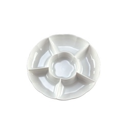 EMI Yoshi Round Dome 6 Compartment White Tray - 12 in.