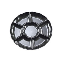 EMI Yoshi Round 7 Compartment Black Tray - 16 in.