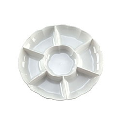 EMI Yoshi Round Dome 7 Compartment White Tray - 16 in.
