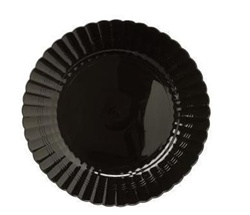 EMI Yoshi Resposable Plastic Black Dinner Plate - 10 in.