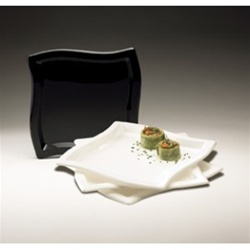 EMI Yoshi Square Wave Dinner Plate Black - 10 in.