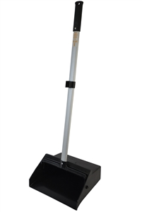 Black Lobby Dust Pan with Aluminum Handle - 12 in. x 10.5 in. x 37 in.