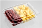 Clear 2 Compartment Polyethylene Snack Pack Container - 6 in. x 5 in. x 1.5 in.