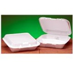 Snap-It Carryout Containers, 7.63in.Wx8.44in.Lx2.38in.H, 3-Compartment, Hinged, White