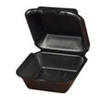 Quality-To-Go Snap-It Sandwich Containers, 5.69in.Wx5.81in.Lx3.13in.H, Square, Hinged, Black