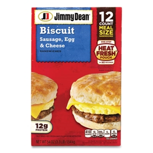 Biscuit Breakfast Sandwich Sausage Egg and Cheese 12 Count - 54 Oz.
