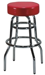 Bar Chair With Two Rings Vinyl Black Seat - 17.25 in. x 19 in. x 42 in.
